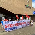BA workers and Stevenage residents lobbied Stephen McPartland over brutal fire & rehire policy. Pict