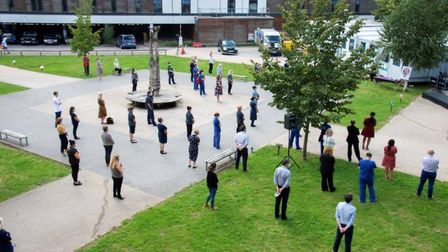 Colleagues gathered outside Stevenage's Lister Hospital to celebrate the life of doctor Abdorreza Se