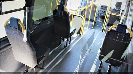 Socially distanced seats onboard the minibus. Picture: Uttlesford Community Travel