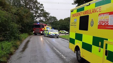 Emergency services are at the scene of a serious crash in Blakemore End Road near Little Wymondley.