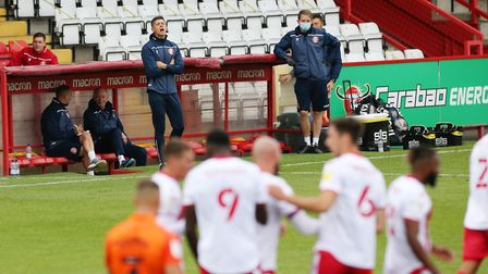Stevenage manager Alex Revell on the touchline during the Carabao Cup game with Portsmouth. Picture:
