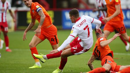 Charlie Carter of Stevenage scores Stevenages second against Portmouth in the Carabao Cup. Picture: