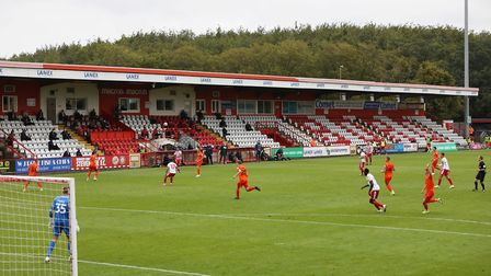 Empty stands during Stevenage's Carabao Cup match with Portsmouth. Picture: DANNY LOO/TGS PHOTO