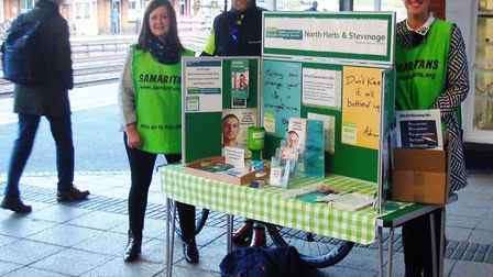 Samaritans collecting at Hitchin train station during last year's World Mental Health Day. Picture: