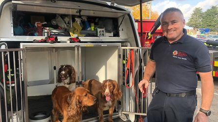 Graham Currie of Essex County Fire and Rescue Service with Jarvis (front left) and Fizz (front right