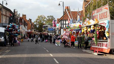 Stevenage Charter Fair in more recent times, with fairground rides and stalls
