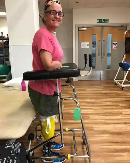 Caroline began walking with the help of a pulpit frame. Picture: Courtesy of the Coster family