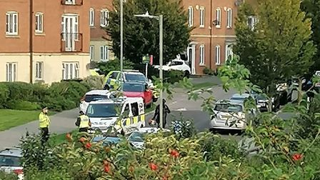There has been a heavy police presence in Mendip Way in Stevenage for most of today. Picture: Heathe