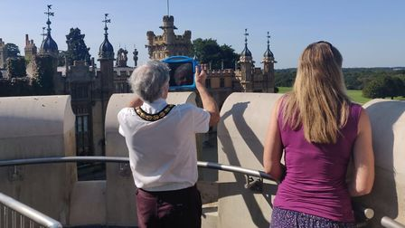 Stevenage's Mayor Jim Brown and Mayoress Penny Schenkel enjoy the views at Knebworth House. Picture: