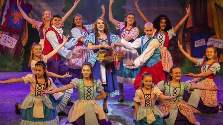 Beauty (Grace Lancaster) and the ensemble in 2019 Stevenage pantomime Beauty and the Beast at the Go