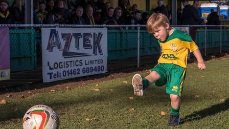Back of the net! Teddy Donnelly is fundraising for Hitchin Town FC's Canary Crisis Fund. Picture: Su