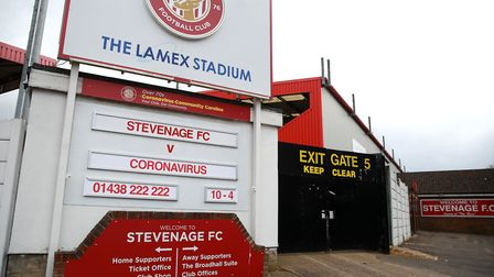 Three players from Stevenage Football Club have tested positive for coronavirus. Picture: ADAM DAVY/
