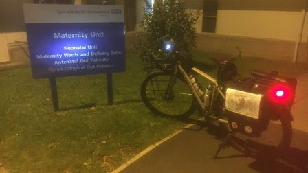 One of the first stops on Richard's hospital cycle challenge was Lister's Maternity Unit, where Tom
