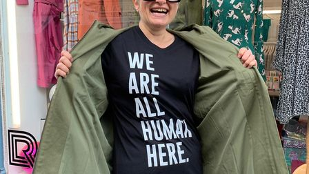 Jess from Riot Lounge with a Humanitas 'We Are All Human Here' campaign t-shirt. Picture: Jo Wearne