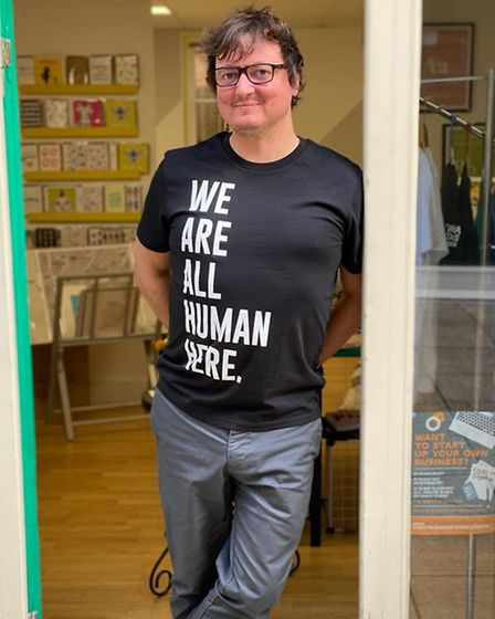 Philip at Shared Space supporting the We Are All Human Here campaign. Picture: Jo Wearne