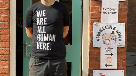 James, from Wakelin & Son, supporting the We Are All Human Here campaign. Picture: Jo Wearne