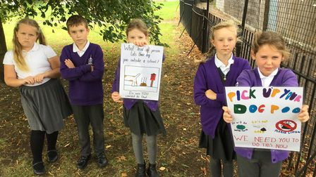 The school's Eco Council have put up posters in an attempt to deter the culprits. Picture: Supplied