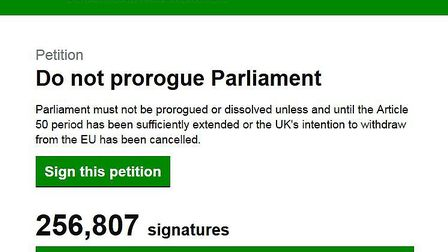 A petition calling on the government not to prorogue parliament has smashed its target to be considered for a debate.