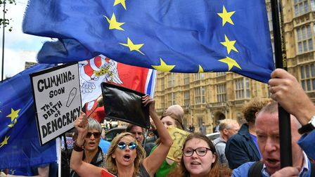 Anti-Brexit protesters in Westminster. Photograph: Dominic Lipinski/PA.