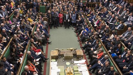 MPs in the House of Commons for the result of the Meaningful Vote. Photograph: Mark Duffy/House of C