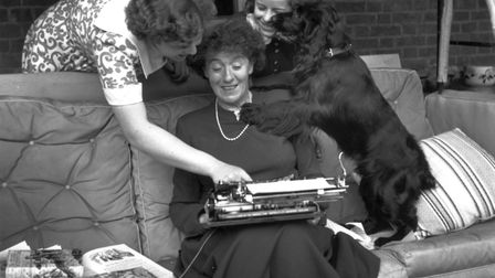 May 1949: English author and writer of books for children Enid Mary Blyton (1897-1968) at her home