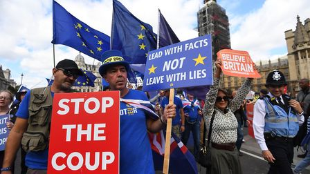 Brexit protesters in Westminster. Photograph: Victoria Jones/PA Wire.