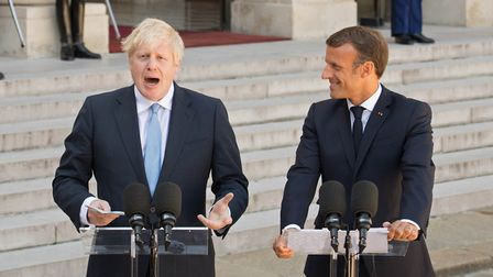 Boris Johnson with French President Emmanuel Macron at the Elysee Palace in Paris ahead of talks to