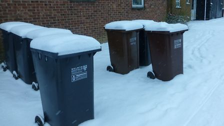 Recycling bins covered in snow in Hatfield