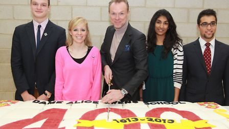 Gary Kemp cuts the cake to celebrate Dame Alice Owen's School 400th anniversary, with six form stude