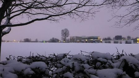 The view across Bishop's Hatfield Girls' School playing field in the snow