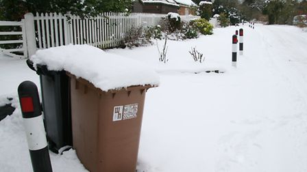 Snowy bins on Digswell Park road in January 2013