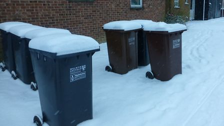 Recyling bins covered in snow in Hatfield