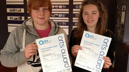 Brandon Mattless and Abbie Loosemore with their certificates