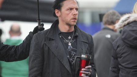 Simon Pegg during filming of The World's End