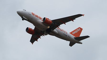 An Easyjet plane takes off from Luton Airport
