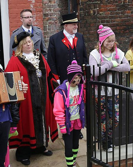 New Mayor Samantha Hoy watches on as St Peters school pupils perform Fenland Molly Dancing at the Ne