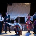 Harnessing Lightning: Rhys Jose as William, Richard Cartwright as Clerval, Sam Underwood as Victor,