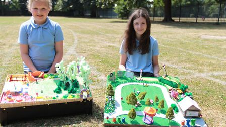 Chloe Hutching and Eleanor Bennett with their park designs