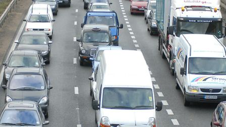 Heavy traffic on the A1(M) near Knebworth ahead of a previous music festival