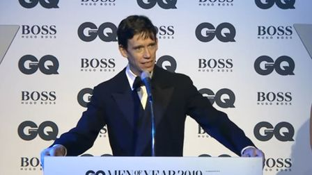Rory Stewart accepting his politician of the year award at the GQ magazine Men of the Year awards. P