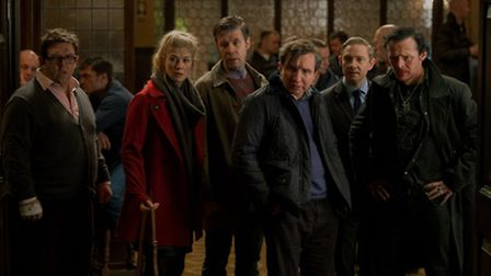 Nick Frost, Rosamund Pike, Paddy Considine, Eddie Marsan, Martin Freeman and Simon Pegg in The World