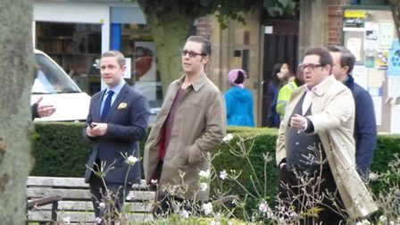 Martin Freeman, Paddy Considine and Nick Frost during filming of The World's End in Welwyn Garden Ci