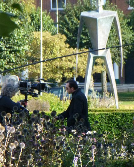 Simon Pegg being filmed in Welwyn Garden City town centre during The World's End shoot