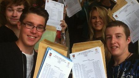 Delighted pupils at Onslow St Audrey's School in Hatfield after picking up their GCSE results