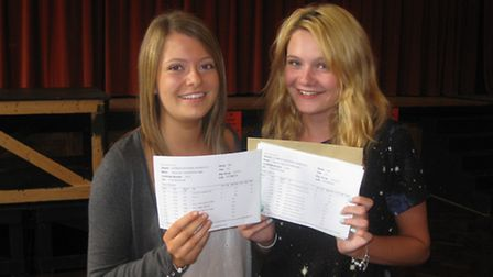 Alex Anderson and Raquel Sutherland, from Chancellor's School, collecting their results