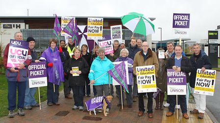The picket line outside The University of Hertfordshire