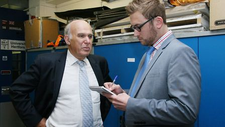 Business secretary Vince Cable visits University of Hertfordshire, here speaking to WHT chief report