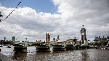 A view Houses of Parliament (Palace of Westminster) and Elizabeth Tower (Big Ben) in London. Photogr