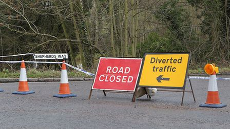 The entrance to Shepherds Way is closed off due to the side of the road collapsing