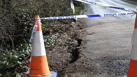 The collapsed side of the road on Shepherds Way which has forced the road to close